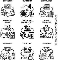 Finance Economic Set Icons Vector Black Illustration