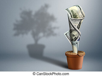 finance growth creative concept, money as tree in pot