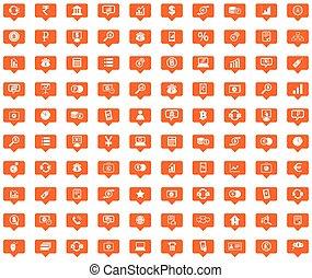 Finance orange message icons set
