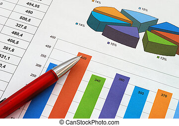 Red pen on finance report