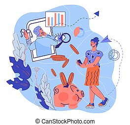 Financial advice on budget and investment management cartoon vector illustration.