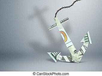 financial burden concept, anchor made of money, copy space