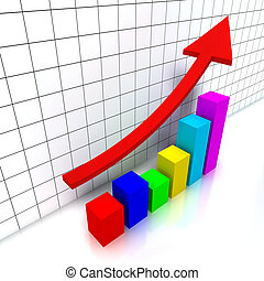 3d chart with colorful cubes and a raising red arrow