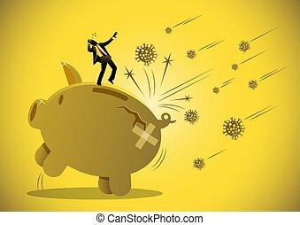Financial crisis and economic recession concept