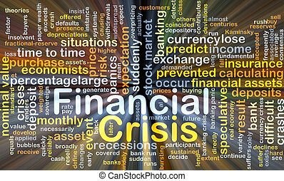 Financial crisis background concept glowing