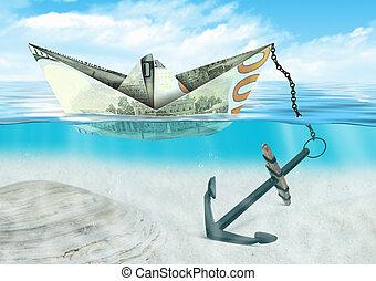 financial crisis concept, ship made of money with anchor