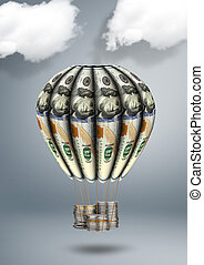 financial growth concept, air balloon made of money