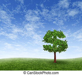 Financial growth and success on a green summer landscape with a single tree in the shape of a dollar sign on a rolling grass hill with a blue sky with clouds showing a business concept of growing prosperity and investments.
