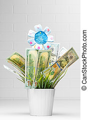 Financial growth. Money Growing in Flower Pot