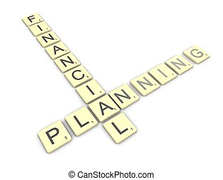 3d rendering, conceptual image, Scrabble game, financial planning.
