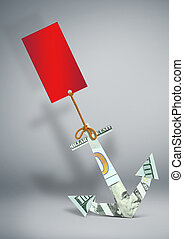 financial problems concept, anchor made of money with blank label