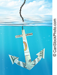 financial problems concept, sinking anchor made of money
