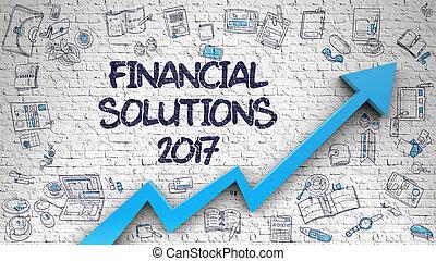 Financial Solutions 2017 Drawn on Brick Wall.