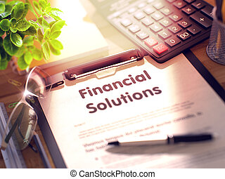 Financial Solutions - Title on Clipboard. 3D Render.