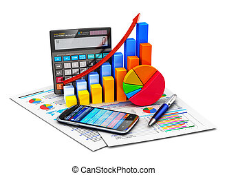 Creative abstract business financial success, tax and accounting, statistics and analytic research concept: office electronic calculator, color bar graph charts, pie diagram, smartphone and pen on financial reports isolated on white background