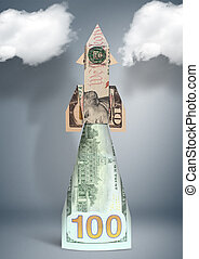 financial success concept, sartup rocket made of money