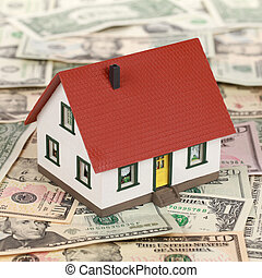 Financing a real estate with a model house on Dollar banknotes