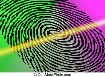 Fingerprint of a thumb being scanned for security