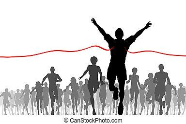 Illustration of a man winning a race