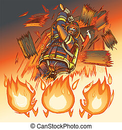 """Illustration of a very intimidating firefighter crashing through a door and brandishing a fire axe, much to the dismay of three hapless anthropomorphic cartoon flames. Heeere's Johnny! Note: all """"important"""" objects are on separate layers for easy editing! These include the flame characters, the wood..."""