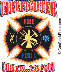 Illustration of a flaming firefighter cross with symbols for firefighting and rescue services. Vector format is easily edited or separated for print and screen print.