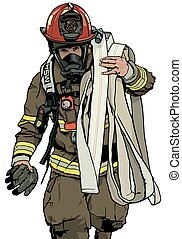 Firefighter With Fire Hose Over Shoulder - Colored Illustration, Vector