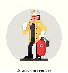 Fireman girl standing