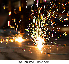 Fireworks of CNC LPG gas cutting close-up