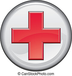 First Aid Medical Cross Button