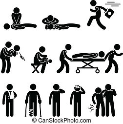 A set of pictogram representing first aid procedure.