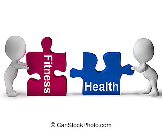 Fitness Health Puzzle Shows Healthy Lifestyle