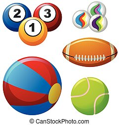 Five different kinds of balls