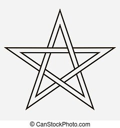 Isolated five pointed star sign on white background
