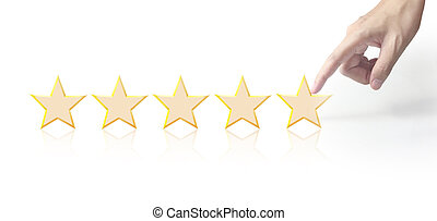 Five stars in hand. Increase rating evaluation