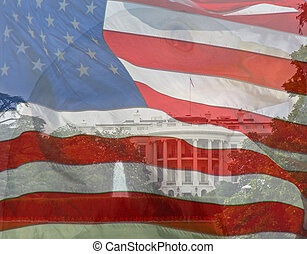 Flag, Eagle, White House. Composite of three photos taken by the author.