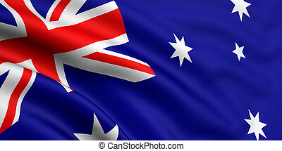 3d rendered and waving flag of australia