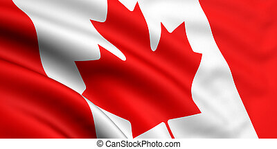 3d rendered and waving flag of canada