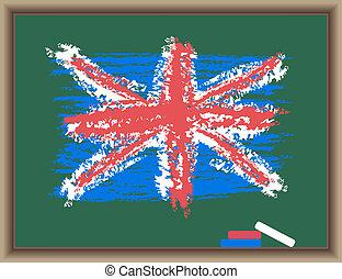 The drawn flag of England on a blackboard
