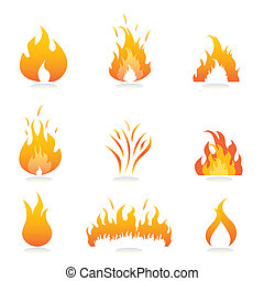 Flames and fire signs and symbols