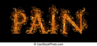 The Word Pain In Flaming Hot Text