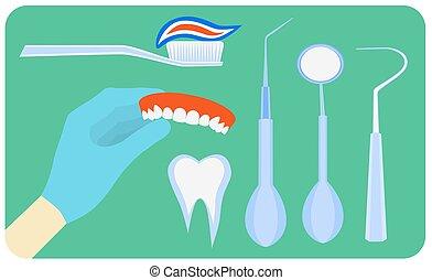 Flat dental instruments set