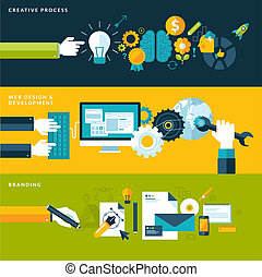 Set of flat design vector illustration concepts for creative process, web design & development and branding. Concepts for web banners and printed materials.