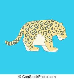 Flat hand drawn icon of a cute jaguar