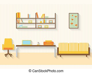 Flat living room with furniture and long shadows