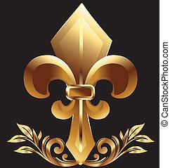 Fleur De Lis, New Orleans simbol in gold