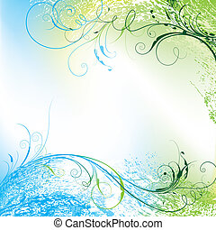 Floral Tendriled Wavy Background, editable vector illustration
