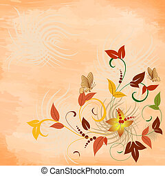 Floral pattern with butterflies grunge