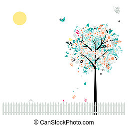 Floral tree beautiful for your design, birds on fence