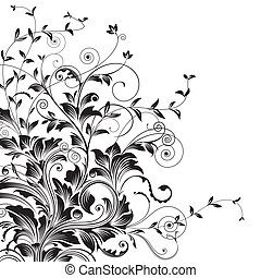 Floral drawing of corner decorative background. vector illustration layered.