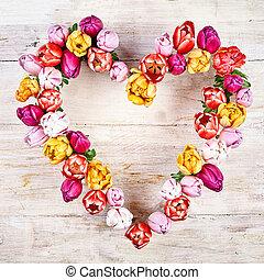 Flower heart on wood white background